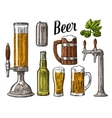 Beer class can bottle barrel Vintage vector image vector image