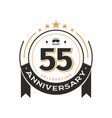 birtday vintage logo template to 55 th anniversary vector image vector image