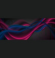blue and purple smooth waves and dots on black vector image vector image