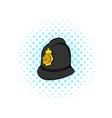 British police helmet icon comics style vector image vector image