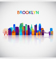 brooklyn skyline silhouette in colorful geometric vector image vector image