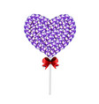 candy heart on stick with twisted design on white vector image