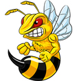Cartoon of angry bee mascot isolated
