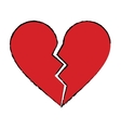 cartoon red heart broken sad separation vector image