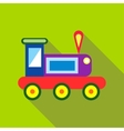 Children s toy train on a bright green background