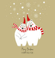 christmas greeting card with hugging bears vector image vector image