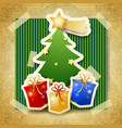 christmas with tree on cardboard background vector image