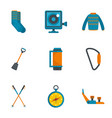 climbing mountain icon set flat style vector image vector image