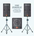color flat style loudspeakers on stands and vector image vector image