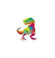 creative polygonal dinosaur logo vector image