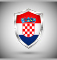 croatia flag on metal shiny shield collection of vector image vector image
