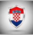 croatia flag on metal shiny shield collection vector image vector image