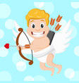 cupid flies with a bow and arrow valentines day vector image vector image