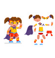 cute girl super power hero teen woman action rpg vector image vector image