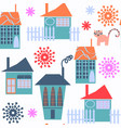 cute modern city seamless pattern it is located vector image