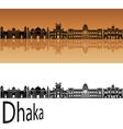 Dhaka skyline in orange vector image vector image