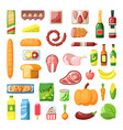 everyday supermarket food items assortment flat vector image vector image