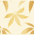 gold foil style cannabis leaves seamless vector image vector image