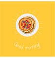 good morning banner with pancakes vector image vector image
