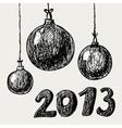 Hand drawn vintage christmas balls vector image
