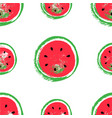 hand drawn watermelon pattern isolated on white vector image vector image