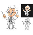 happy old man professor holding a pointer stick vector image vector image
