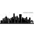 hong kong china city skyline black and white vector image