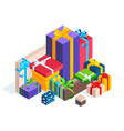 isometric pile of gift boxes isolated vector image