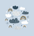kids circle with clouds rainbow vector image