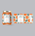 label packaging jar marmalade pattern orange vector image vector image