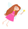 Little Cute Fairy Girl with Long Hair vector image vector image