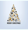 merry christmas card with christmas toys and stars vector image vector image