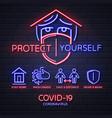neon sign covid-19 protection methods coronavirus vector image