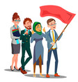 office staff following the leader carrying flag in vector image