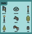 park color outline isometric icons vector image