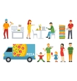 People in a Pizzeria interior flat icons set vector image vector image