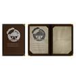 restaurant menu notebook in brown leather binding vector image vector image