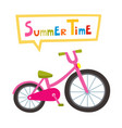 riding pink bike isolated on white vector image vector image