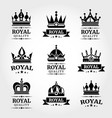 royal quality crowns logo templates set vector image