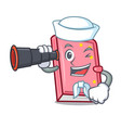 sailor with binocular diary mascot cartoon style vector image vector image