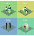 Set of Bank Concepts in Isometric Projection vector image