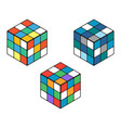 set of three isomeric colored cubes on a white vector image