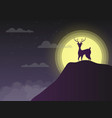silhouette deer standing on cliff in night with vector image vector image