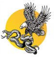 snake and eagle logo design vector image vector image