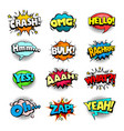 superhero comic book sounds bubble set vector image