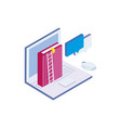text book with laptop and stair vector image
