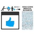 Thumb Up Calendar Page Icon With 1000 Medical vector image vector image