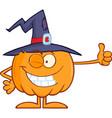 winking witch pumpkin cartoon character vector image