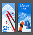 winter ski resort banners beautiful landscape vector image vector image