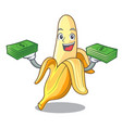with money fresh banana fruit mascot cartoon style vector image vector image